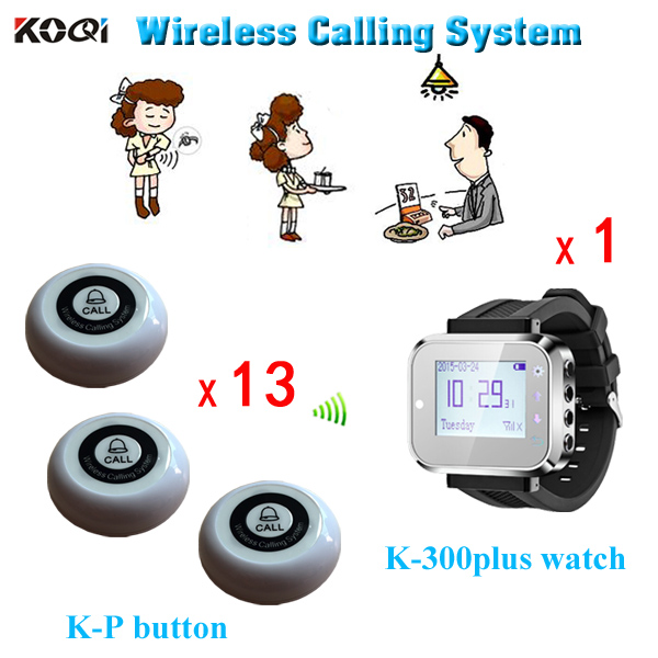 Service call bell pager system k-300plus wrist watch receiver and 13pcs table buzzer button with single-key(China (Mainland))