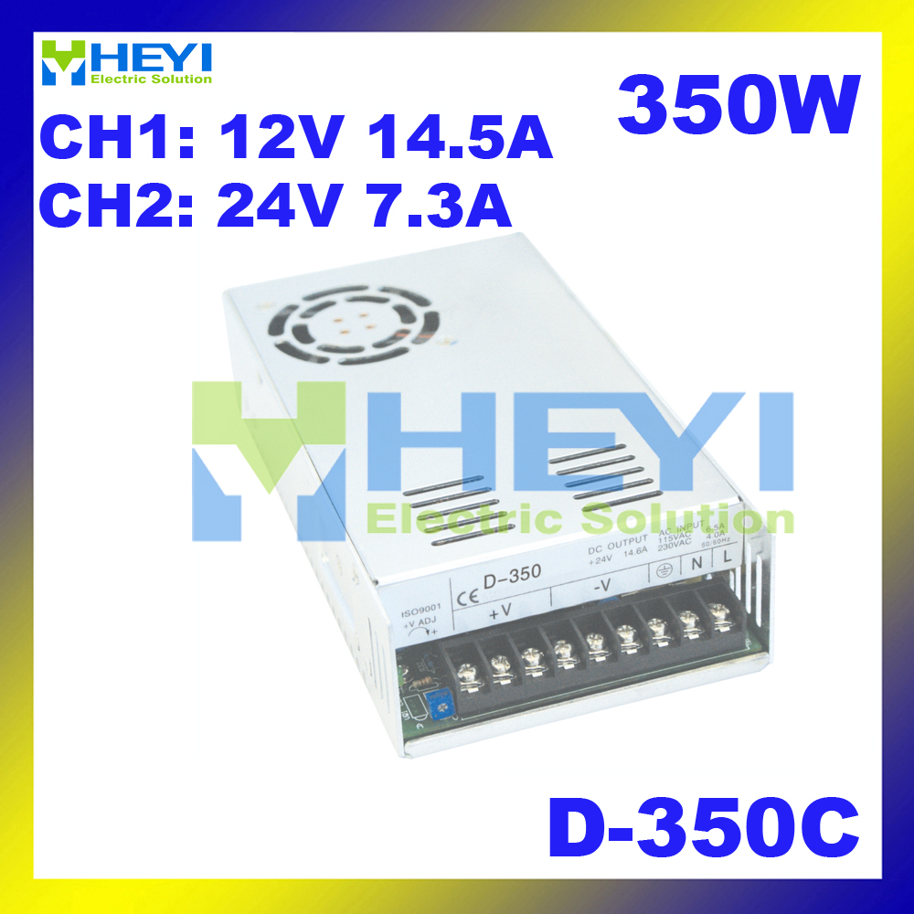 350W dual switching power supply CH1: 12V 14.5A CH2: 24V 7.3A D-350C AC to DC voltage converter power supply<br><br>Aliexpress