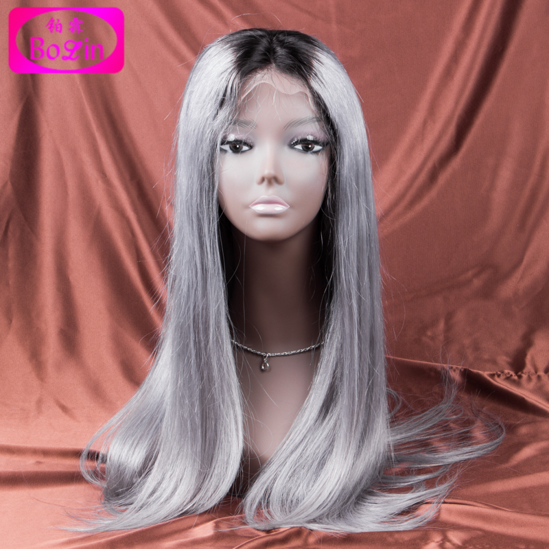 Ombre grey human hair wigs middle part  wigs fashion style ombre grey lace front wigs glueless full lace human hair wigs<br><br>Aliexpress