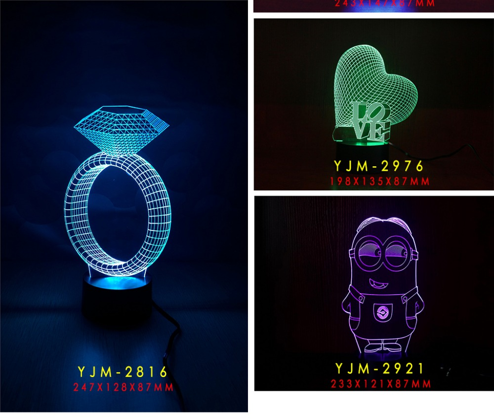 3D LED 7COLORS CHANGEABLE TOUCH NIGHT LIGHT TABLE LAMP FUN LIGHT FOR KIDS CHRISTMAS GIFT AND DECORATION ROOM for Christmas(China (Mainland))