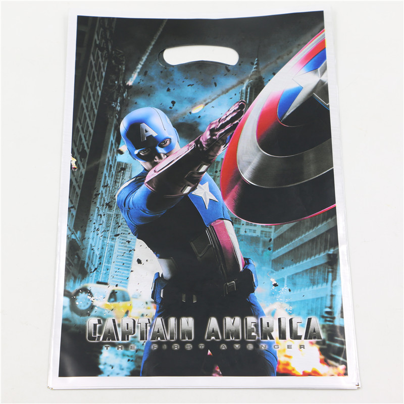 baby shower birthday party decoration captain America theme cartoon Plastic gift bags shopping bag candy bag loot bags(China (Mainland))