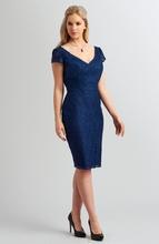 Custom-Made 2017 Mother Of The Bride Groom Dress Sheath V-Neck Short Sleeve Knee-Length Lace Party Bridesmaid Dress 4612(China (Mainland))