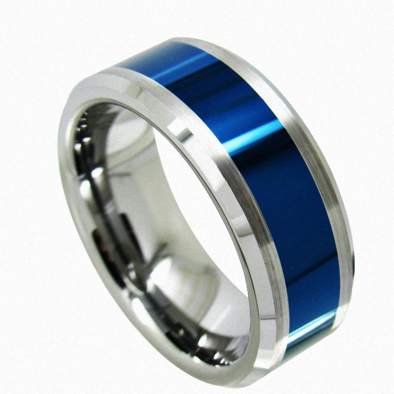 Queenwish Womens Mens Polished Tungsten Carbide Wedding Band Blue Fashion Rings