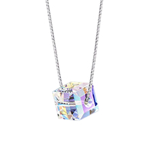 Buy 2017 New Fashion design Square Sugar Crystal Pendant Necklace silver color Chain Austrian Crystal Cute Necklace women for $1.31 in AliExpress store