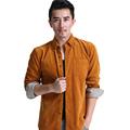 2016 High Quality Cotton Corduroy Men Casual Shirts Long Sleeve Big Size Vintage Dress Business Social
