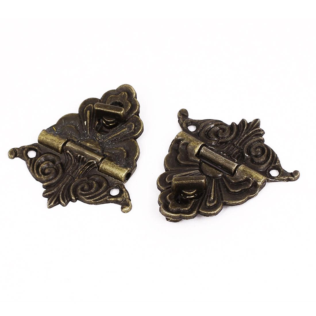 UXCELL Hinge Antique Style Wooden Case Jewelry Box Hasp Latch Bronze Tone 2 Set(China (Mainland))