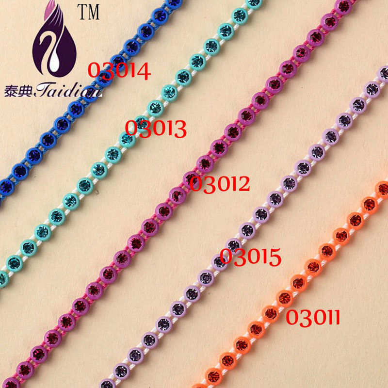 10yards Plastic Cup Rhinestone Banding SS8 Flatback Stone Strass Chain For Shoes Bags Clothing Garment Trim Applique Setting(China (Mainland))