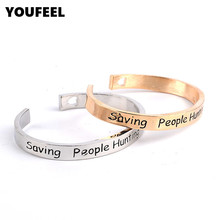 2016 romantic jewelry Engraved letter word saving people hunting things Open Stacking Bangle Cuff Bracelet HC657(China (Mainland))