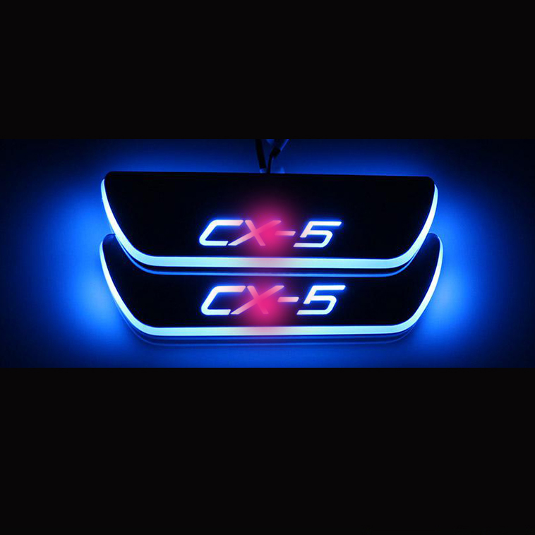 for car for 13-15 Mazda CX-5 Blue Stainless Steel LED scuff plate door outside sill sills Trim Car Accessories Welcome pedal LED<br><br>Aliexpress