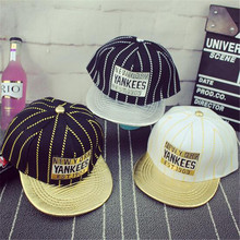 2016 New Letter New York Stripe Luxury Flat Brim Snapback Cap For Kids Girls Summer Hiphop Baseball Caps For Boy SACF1314
