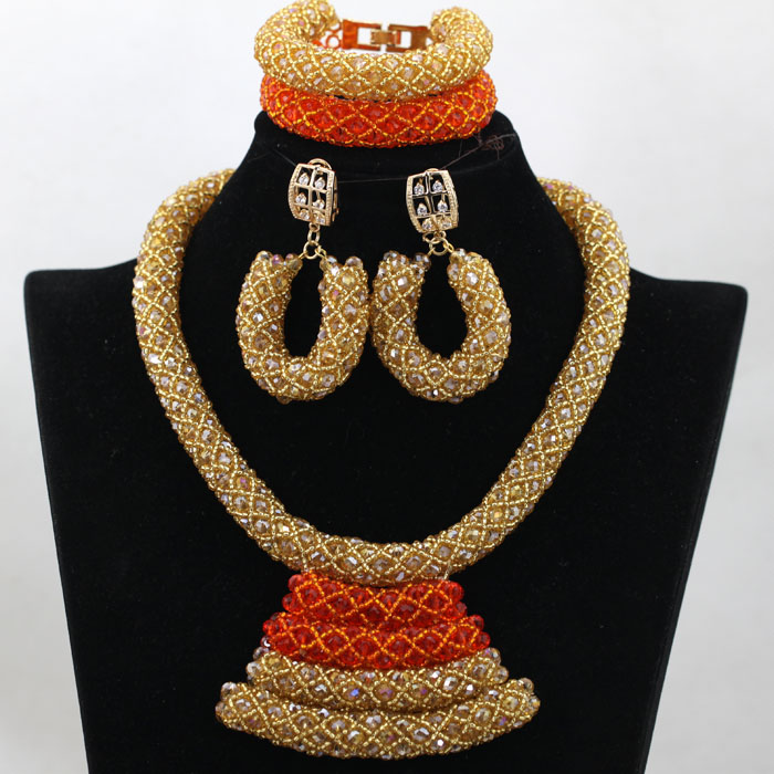 Pretty Orange&Gold Bride Jewelry Set Fashion Bib Statement Necklace Set for Women Gift Pendant Necklace Free Shipping WA829(China (Mainland))