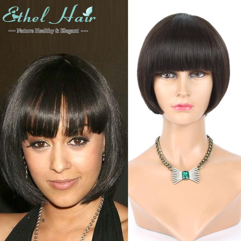 Фотография Rihanna Hairstyle Black Wig Short Bob Wigs For Black Women Straight Black Brazilian Virgin Wigs Heat Brazilian Virgin Black Wig