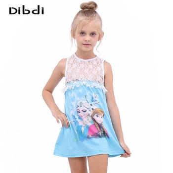 Girls Elsa Dresses Summer 2016 Character Anna Olaf Print Tutu Lace Dress Kids Princess Dresses For 2~12 Years Girl Clothes CA022