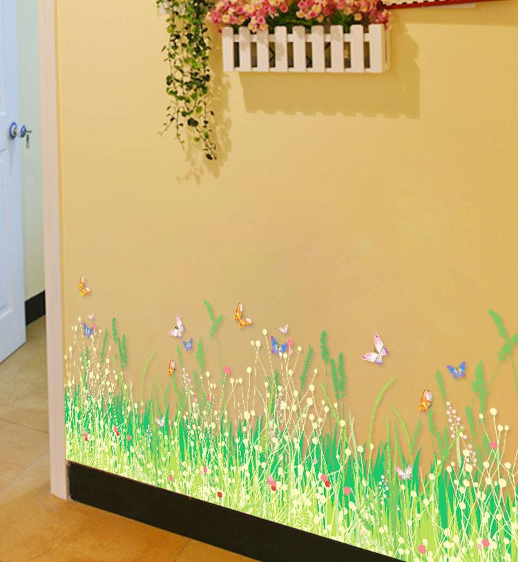 Cartoon rabbit flowers butterfly wall art mural border sticker skirting line wall decor poster Home decor line wall stickers