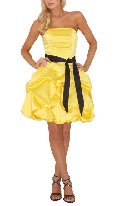 Короткое желто черное платье