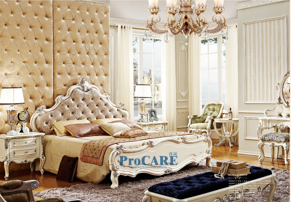 luxury European style woodcarving bedroom furniture set with fabric king bed,nightstand,bedside table,dressing table,chair-8008(China (Mainland))