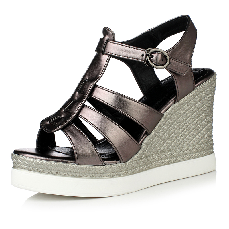 2016 new summer women shoes buckle straps wedges solid color soft leather comfortable breathable women sandals size 34-39 R1851<br>