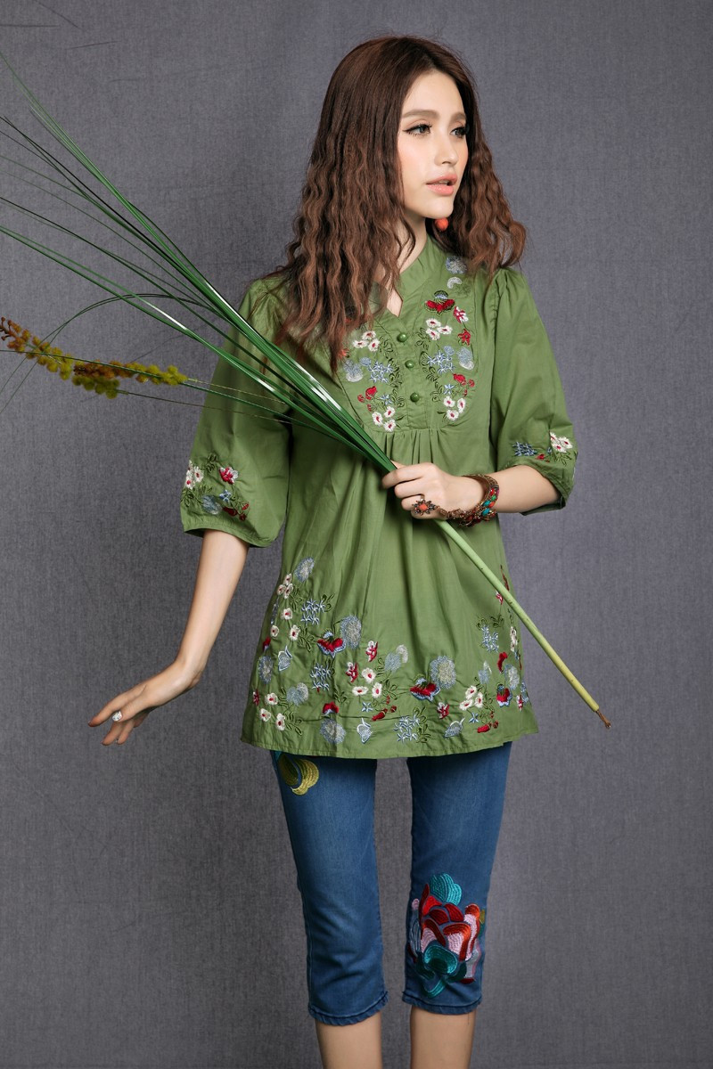 Vintage s peasant mexican ethnic floral embroidered boho