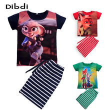 Zootopia Children Clothing Set Summer Character Boys Girls Striped Clothes Sets Kids Short Sleeve T-shirts+ Pant Clothes Set(China (Mainland))