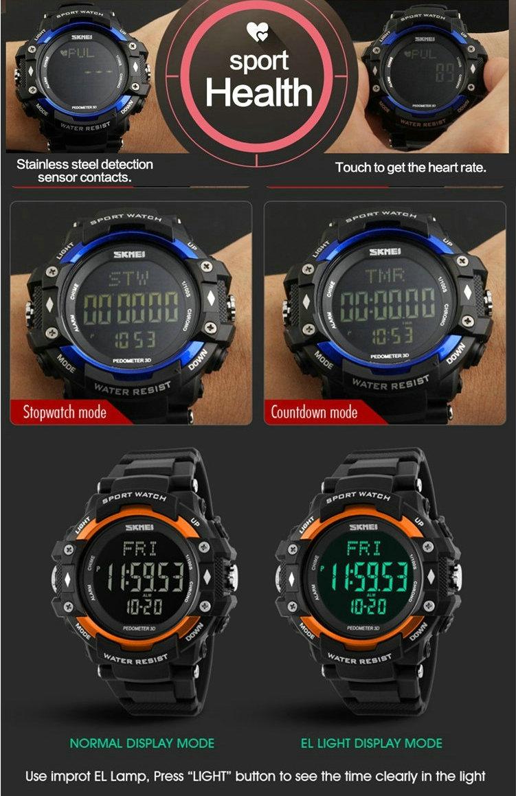 Skmei наручные часы монитор сердечного ритма sport LED 30 М Водонепроницаемый Цифровой Часы для Женщин Мужчины дети Мода наручные часы 1180 часы