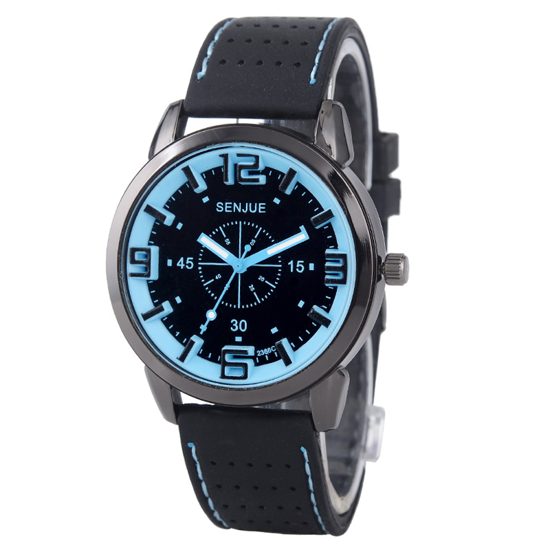Fashion Men Blue Big Dial 3D Fonts Steel Case Silicone Watchband Casual Students Sports Wristwatches Gift ( WJ-4974)(China (Mainland))