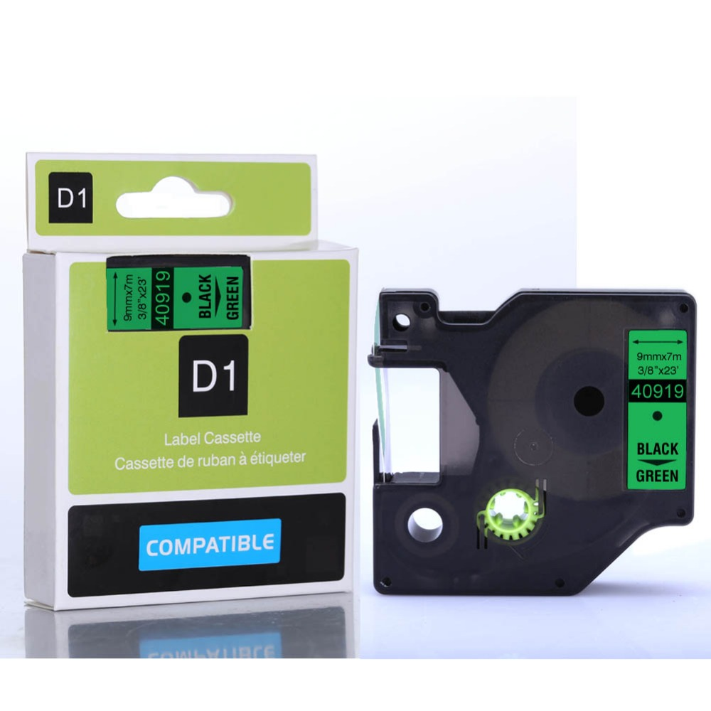 25pcs compatible dymo label printer d1 label tapes 9mm black on green tape 40919<br><br>Aliexpress
