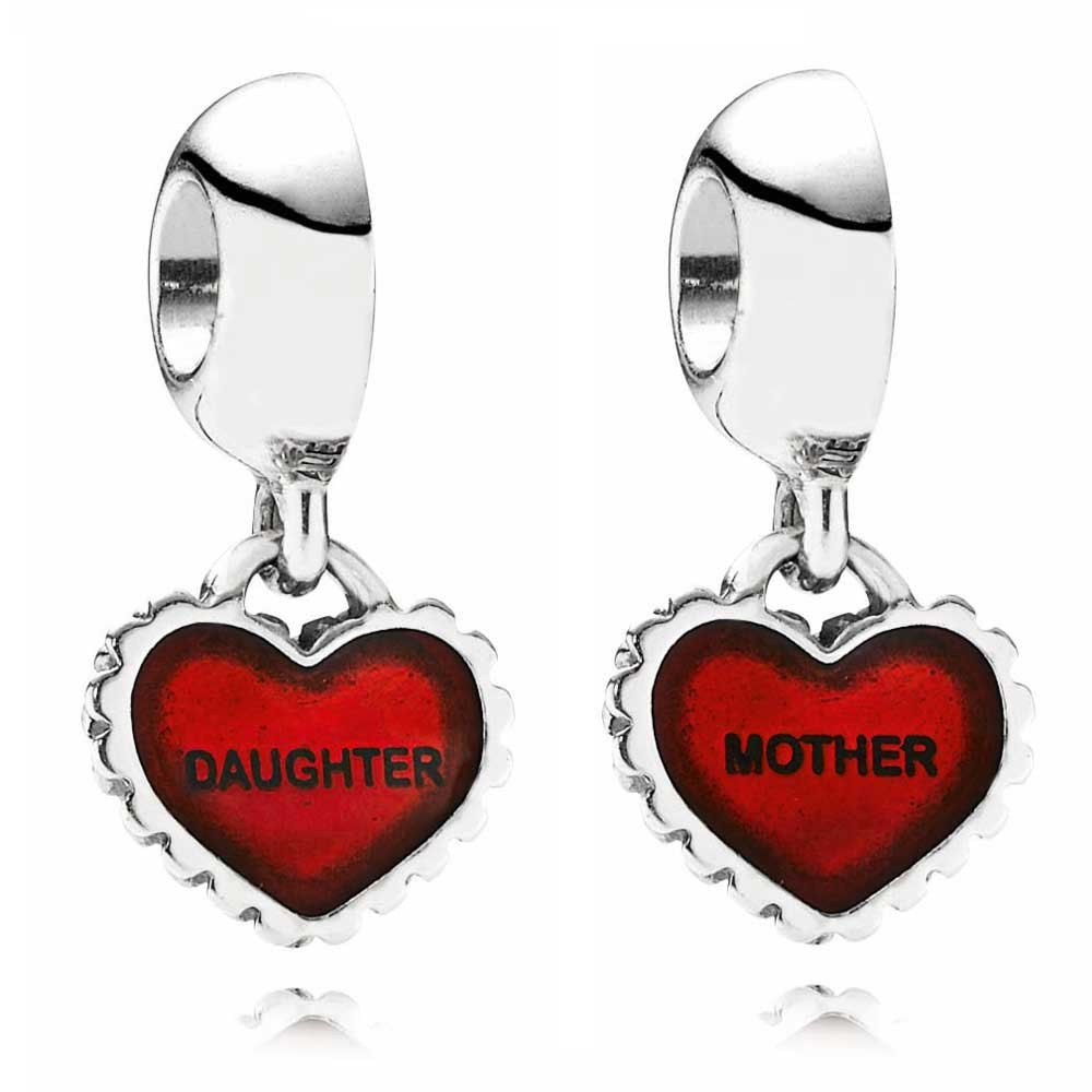 Mother and Daughter 925 Silver Pendant Necklace Chain Length 50CM Dangle For Women DIY Charms Jewelry Making x 1 Pair(China (Mainland))