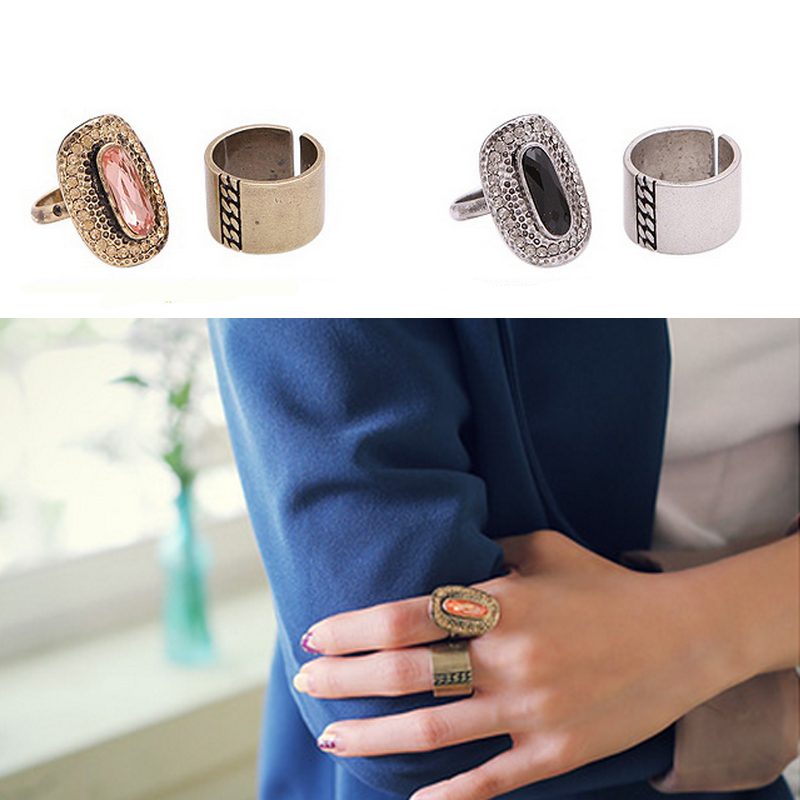 2PCS/Set Fashion Jewelry Classtic Design Personality Rhinestone Wide Alloy Knuckle Rings Set for Women Accessories(China (Mainland))