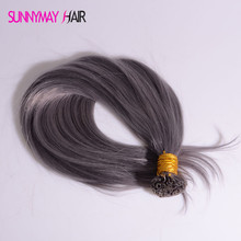 New 2016 U Tip Human Hair Extensions Grey Color Hair Hot Selling Light grey Brazilian Virgin Straight Hair Extensions In Stock