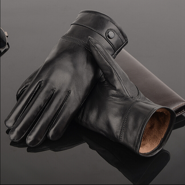 2016 leather gloves,Genuine Leather,Black,brown color,leather gloves men ,leather winter gloves warm,brand mittens(China (Mainland))