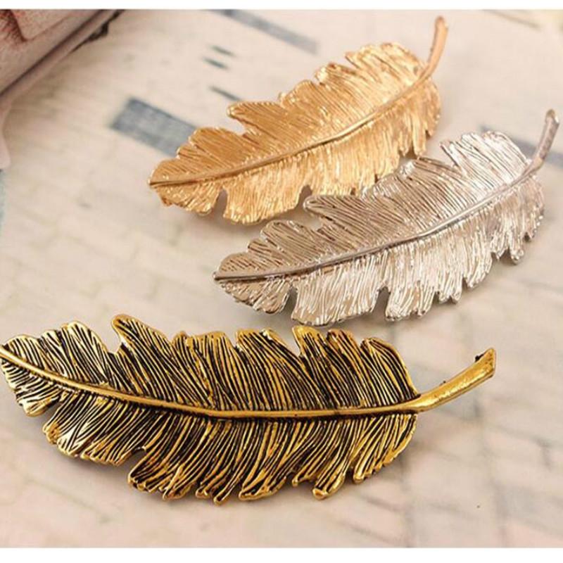 2016 Korean women hair clip feather Hairgrips gold silver bronze hair clips for women alloy hair accessories headdress FJ0638(China (Mainland))