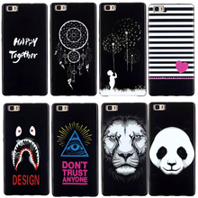 Back Case For Huawei P8 Lite Case Silicone Soft TPU Black Coque Cover For Huawei Ascend P8 Lite Panda Lion Cartoon Phone Cover
