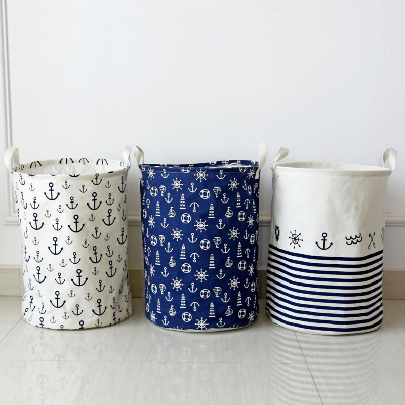 Eco-friendly Cotton Linen Home Clothes Toys Storage Bucket Folding Laundry Baskets Bag(China (Mainland))