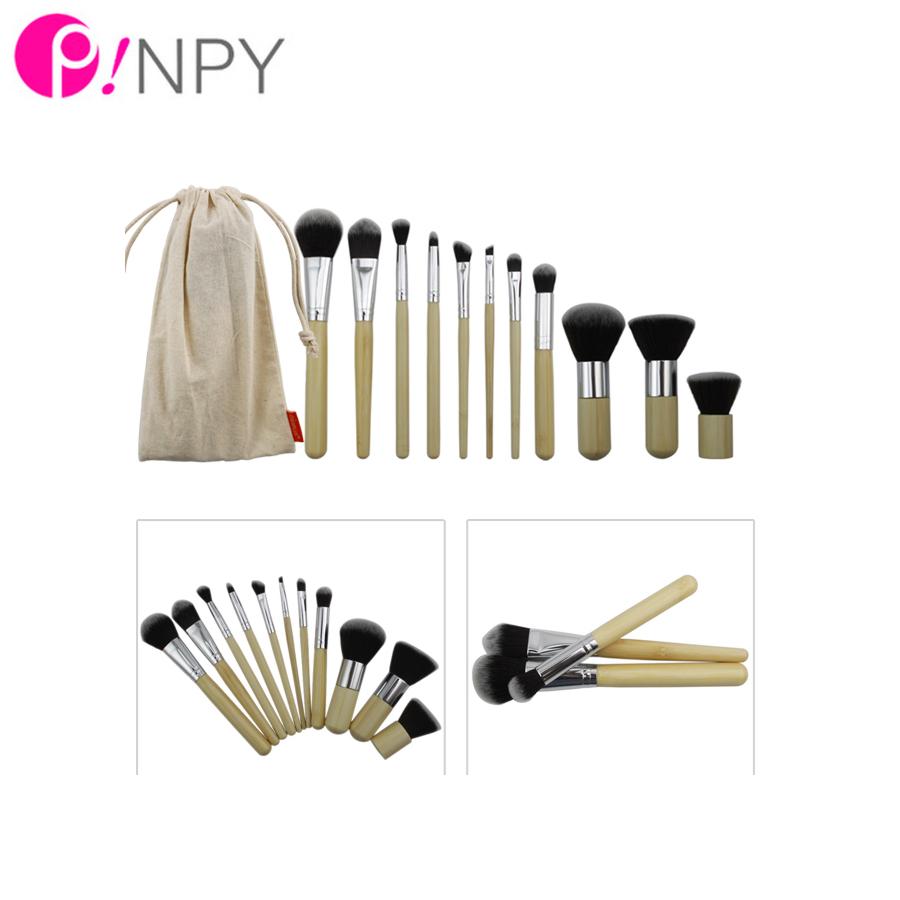Hot Sale Fashion 11PCS/LOT BAMBOO Portable Makeup Brushes Make Up Make-Up Brush Cosmetics Set Kit Tools Free Shipping(China (Mainland))