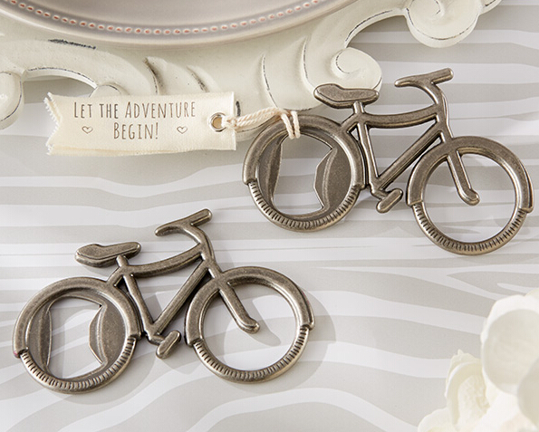 """Free shipping 100pcs/lot Wedding Favors """"Let's Go On an Adventure"""" Bicycle Bottle Opener Party Favors(China (Mainland))"""