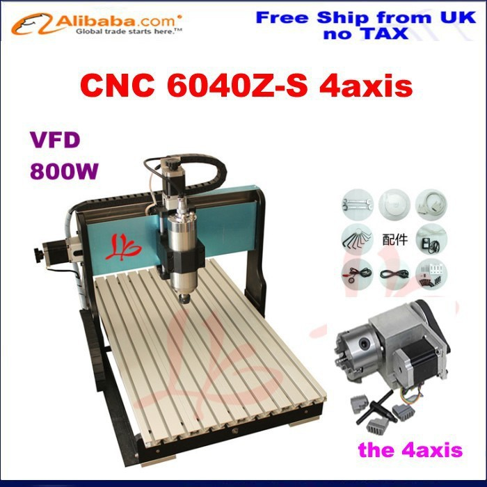 Russia no Tax! best water jet cutting machine price stone 4aixs cnc router 6040 Z-S 800W,water cooled,with limit switch(China (Mainland))