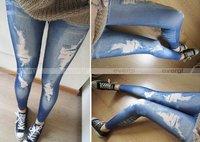 Корейский стильный тонкий карандаш штаны отверстие Жан девять брюки леггинсы оказывают штаны