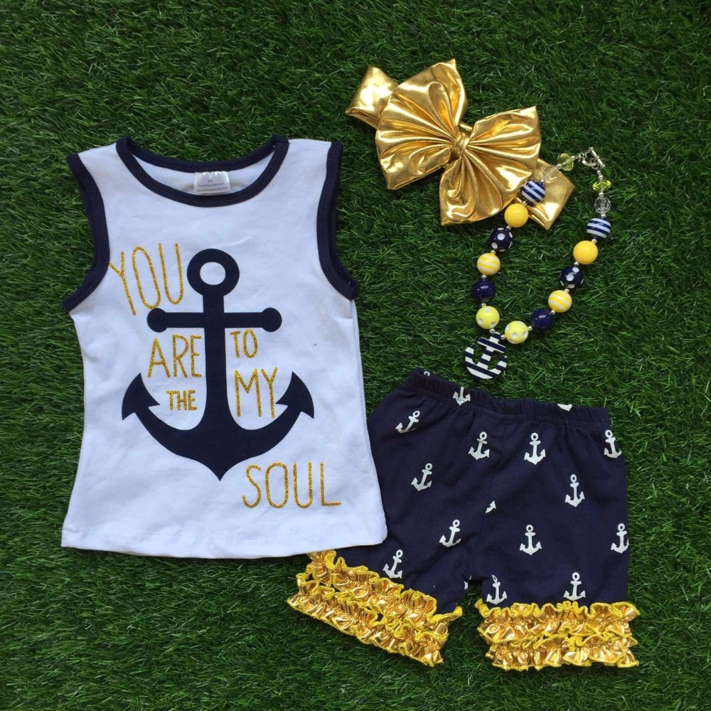 2-7 years old girls Summer outfit girlsanchor clothes navy July 4th clothing ruffle capris girls set with matching accessories(China (Mainland))