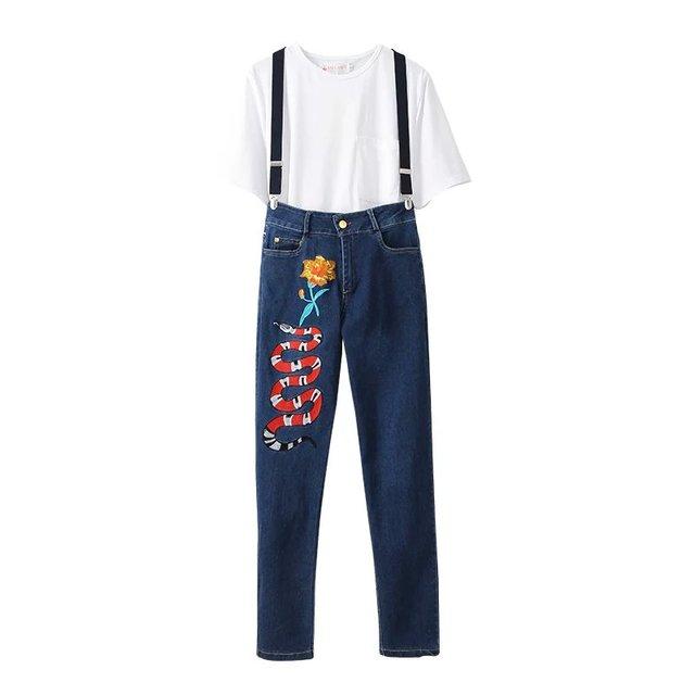 Jq31 корейский мода лето 2016 белая футболка цветочной вышивкой брюки комплект женщин ...