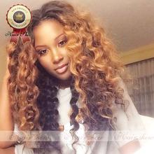 8A caliente venta del pelo brasileño Ombre Loose peluca rizada # 1bt #27 llena del cordón sin cola del frente del cordón pelucas llenas del cordón pelucas para mujeres negras