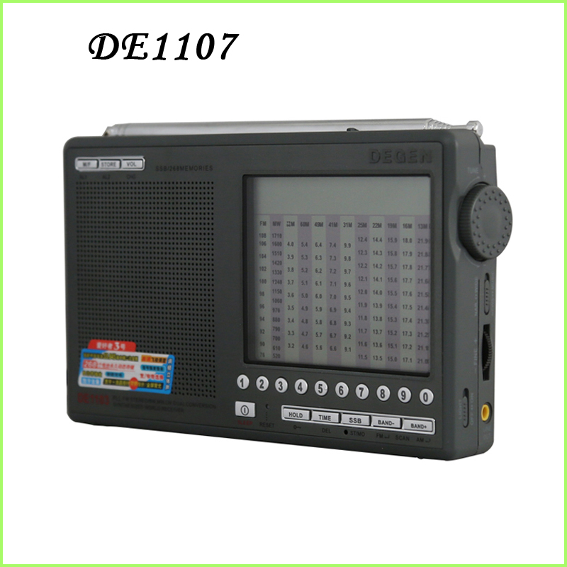 DEGEN DE1107 DIGITAL CLOCK FM/AM/SW MULTI BAND RADIO enthusiasts pointer all band portable secondary frequency stereo(China (Mainland))