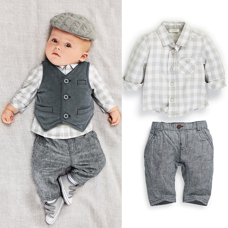 2015 Cute baby boy clothes 3pcs newborn boy outfits infant clothing set spring autumn shirt with matching pants jeans Polo sets(China (Mainland))