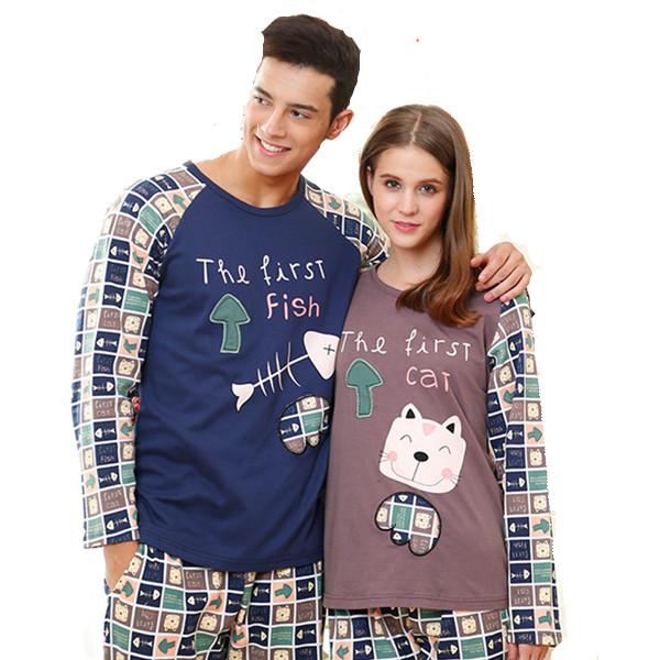Hight quality cotton sleeping clothes pajamas fall winter long-sleeved tracksuit pyjamas plus size couple sleepwear pijama S0022(China (Mainland))