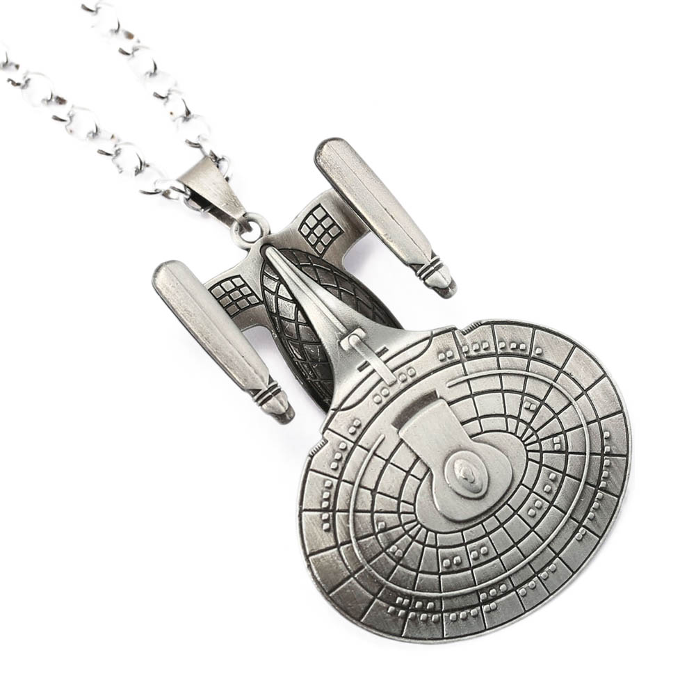 Free Shipping Hot Movie Star Trek Enterprise Model Pendant Spacecraft Necklace Metal Alloy Pendant Necklace For Men Jewelry(China (Mainland))