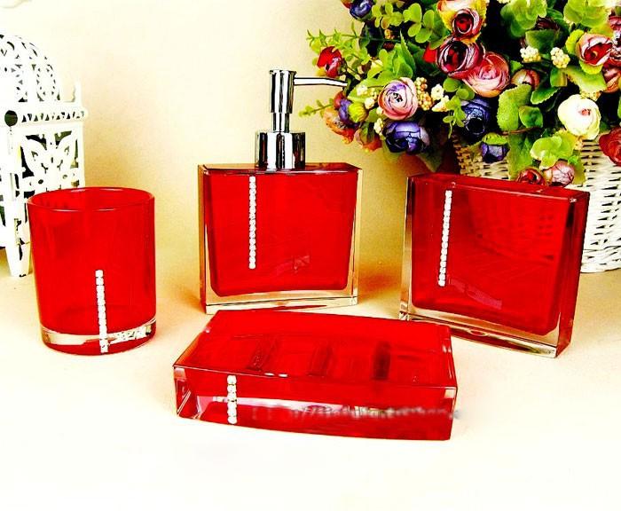 Accessoires salle de bain design rouge for Accessoires de salle de bain