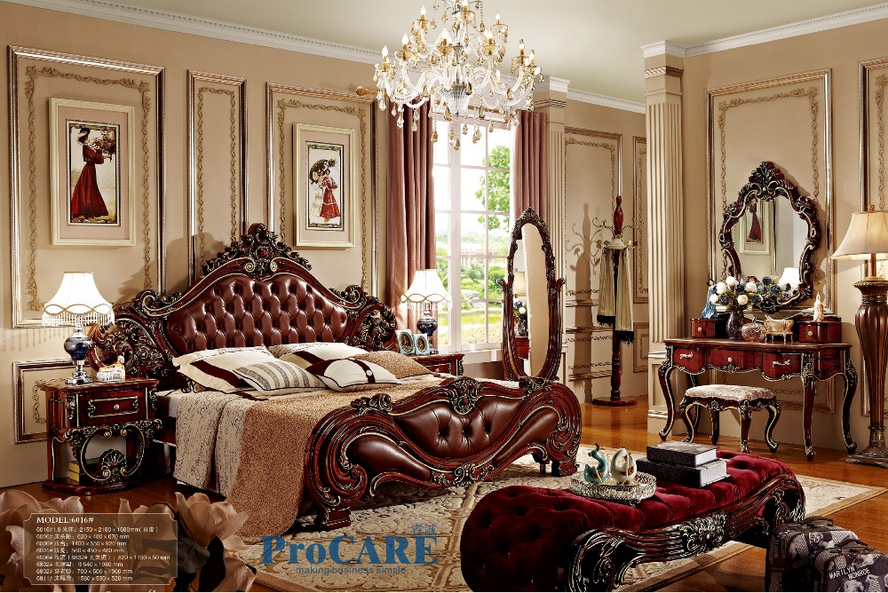 american style bedroom furniture set with red real leather