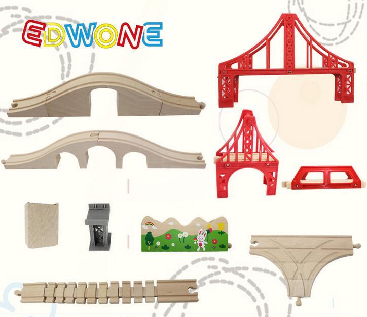 Thomas and Friends -- Thomas Wooden Train Track Railway Accessories Red Big Size Rainbow Bridge S Track Bridge Pier T track(China (Mainland))