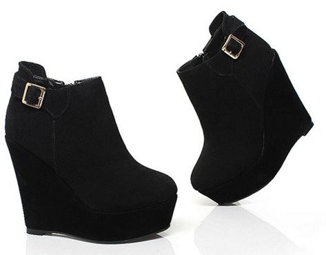 Free Shipping Half Ankle Short Natrual Genuine Leather Wedge Boots