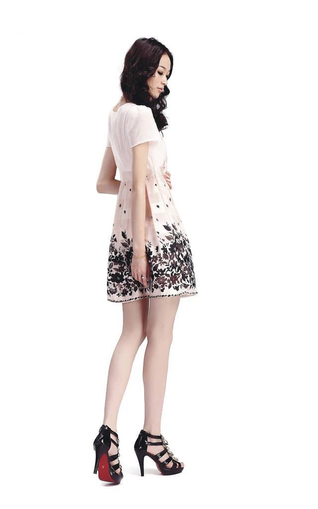 Печать платье, мода куклы, высокие талии дизайн линии, большой ярдов платье f098