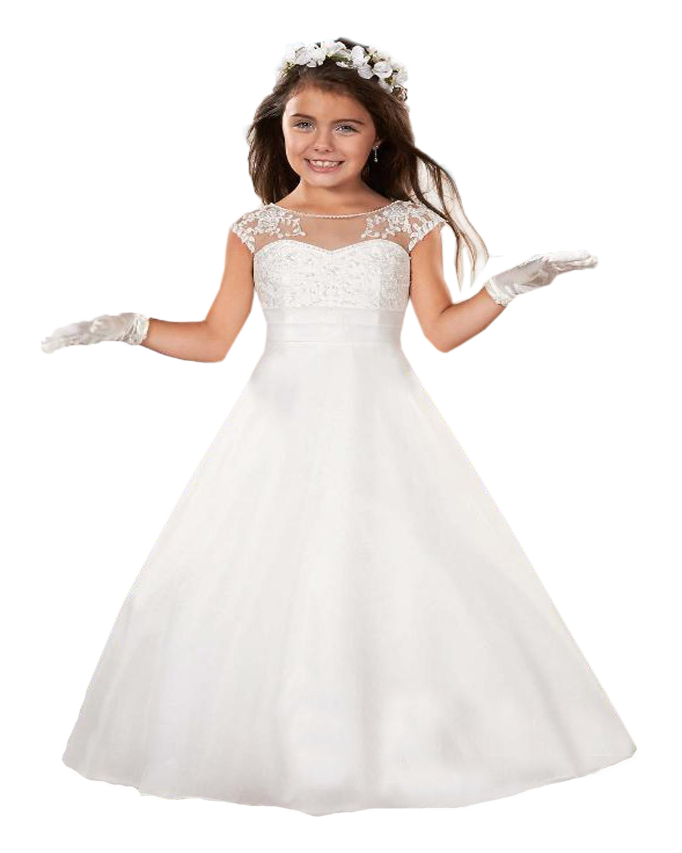 Formal Beading Princess Scoop Tank White Communion Dress Girls Vestidos De Communion First Holy Communion Girl Dress(China (Mainland))